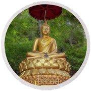 Golden Thai Buddha Round Beach Towel