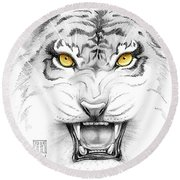 Golden Tiger Eyes Round Beach Towel
