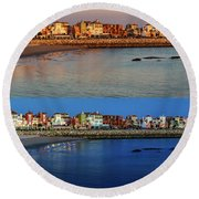 Golden To Blue Hour Puerto Sherry Cadiz Spain Round Beach Towel