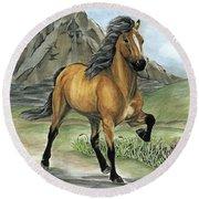 Golden Tolt Icelandic Horse Round Beach Towel