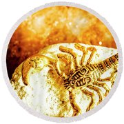 Golden Treasures Round Beach Towel