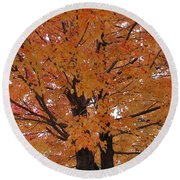 Golden Tree Round Beach Towel
