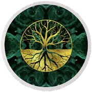 Golden Tree Of Life Yggdrasil On Malachite Round Beach Towel