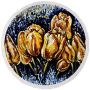 Golden Tulips Round Beach Towel