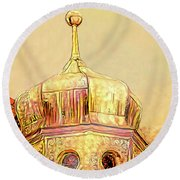 Golden Turret Round Beach Towel