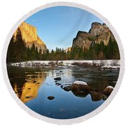 Golden View - Yosemite National Park. Round Beach Towel