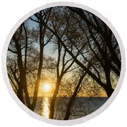 Golden Willow Sunrise - Greeting A Bright Day On The Lake Round Beach Towel