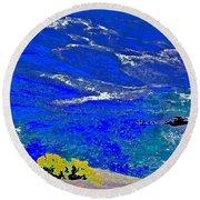 Golden Yarrow Rock Sea Point Lobos Round Beach Towel