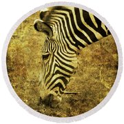 Golden Zebra  Round Beach Towel