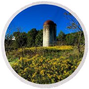 Goldenrod Surrounded Silo Round Beach Towel