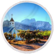 Goldfield Church Round Beach Towel