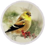 Goldfinch Watercolor Art Round Beach Towel