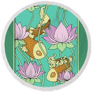 Goldfish And Lotus Round Beach Towel