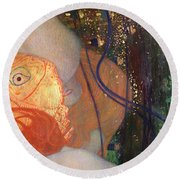 Goldfish Round Beach Towel by Gustav Klimt