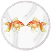 Goldfish Love Watercolor Round Beach Towel