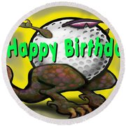 Golf A Saurus Birthday Round Beach Towel