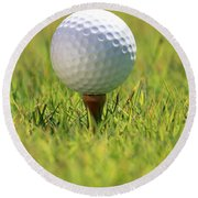 Golf Ball On Tee Round Beach Towel