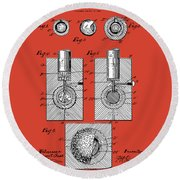 Golf Ball Patent Drawing Red Round Beach Towel