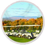 Golf Carts On Vermont Golf Course Round Beach Towel