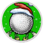 Golf Christmas Round Beach Towel