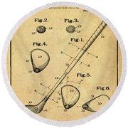 Golf Club Patent 1910 Sepia Round Beach Towel