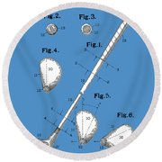 Golf Club Patent Drawing Blue Round Beach Towel