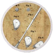 Golf Club Patent Drawing Vintage Round Beach Towel