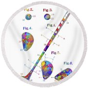 Golf Club Patent Drawing Watercolor Round Beach Towel