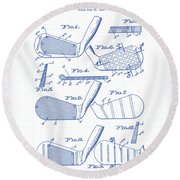 Golf Clubs Patent Drawing Round Beach Towel
