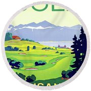 Golf, Lausanne, Switzerland, Travel Poster Round Beach Towel