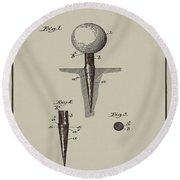 Golf Tee Patent 1899 Aged Gray Round Beach Towel