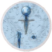 Golf Tee Patent Drawing Watercolor Round Beach Towel