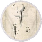 Golf Tee Patent - Patent Drawing For The 1899 G. F. Grant Golf Tee Round Beach Towel