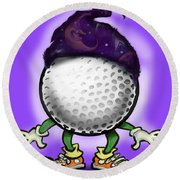 Golf Wizard Round Beach Towel