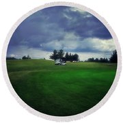 Golfing Before The Rain Golf Cart 01 Round Beach Towel