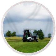 Golfing Before The Rain Golf Cart 02 Round Beach Towel