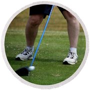 Golfing Driving The Ball In Flight Round Beach Towel