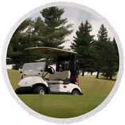 Golfing Golf Cart 01 Round Beach Towel