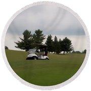 Golfing Golf Cart 02 Round Beach Towel