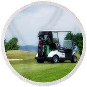 Golfing Golf Cart 03 Round Beach Towel