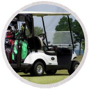 Golfing Golf Cart 05 Round Beach Towel