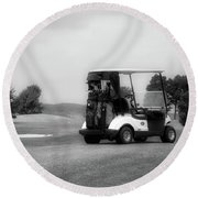 Golfing Golf Cart 06 Bw Round Beach Towel
