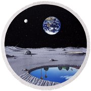 Golfing On The Moon Round Beach Towel
