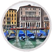 Gondolas Galore Round Beach Towel
