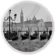 Gondolas Of San Marco Square Round Beach Towel
