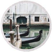 Gondolas On A Canal In Venice, Italy Round Beach Towel