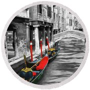 Gondolas On Venice. Black And White Pictures With Colour Detail  Round Beach Towel
