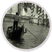 Gondolier In Venice   Round Beach Towel