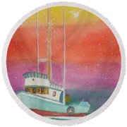 Gone Fishing At Midnight  Round Beach Towel