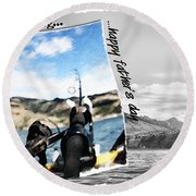 Gone Fishing Father's Day Card Round Beach Towel